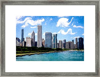 Digitial Painting Of Downtown Chicago Skyline Framed Print by Paul Velgos
