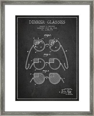 Dimmer Glasses Patent From 1925 - Dark Framed Print by Aged Pixel