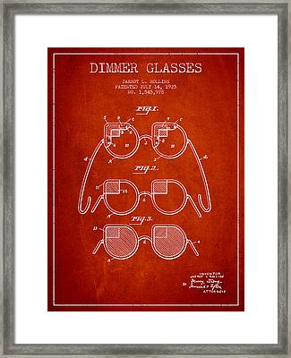 Dimmer Glasses Patent From 1925 - Red Framed Print by Aged Pixel