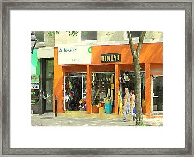 Dimona Latin Quarter Romantic Morning Summer Stroll Pretty Streets Montreal City Scene C Spandau Framed Print by Carole Spandau