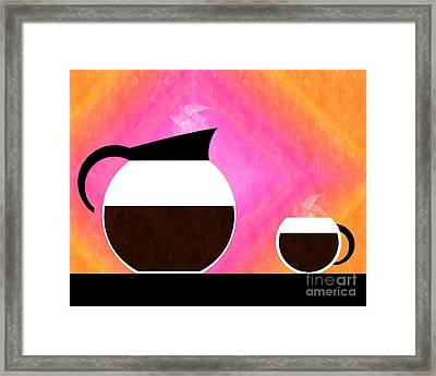 Diner Coffee Pot And Cup Sorbet Framed Print by Andee Design