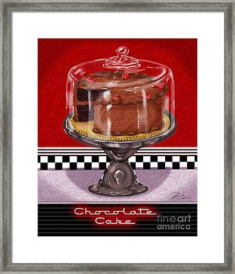 Diner Desserts - Chocolate Cake Framed Print by Shari Warren
