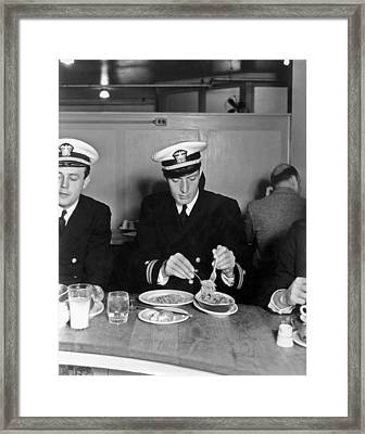 Dining On Spaghetti Framed Print by Underwood Archives