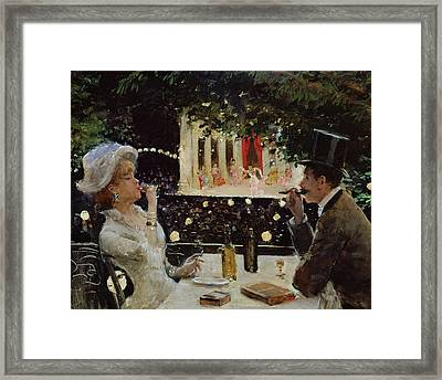 Dinner At Les Ambassadeurs Framed Print by  Jean Beraud