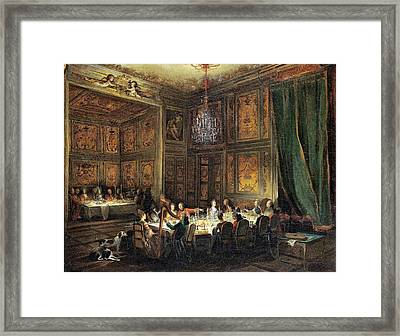 Dinner Of The Prince Of Conti 1717-76 In The Temple, 1766 Oil On Canvas Framed Print by Michel Barthelemy Ollivier or Olivier