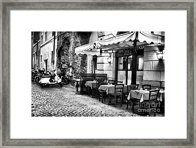 Dinner Scene In Rome Framed Print by John Rizzuto