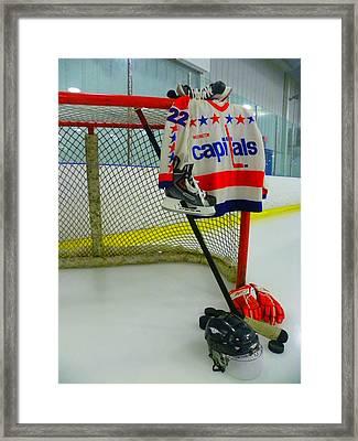Dino Ciccarelli Washington Capitals Vintage Home Hockey Jersey Framed Print by Lisa Wooten