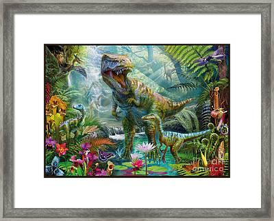 Dino Jungle Scene Framed Print by Jan Patrik Krasny