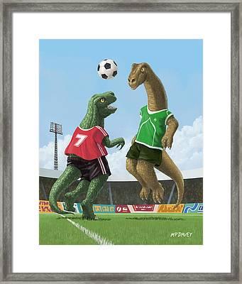 Dinosaur Football Sport Game Framed Print by Martin Davey