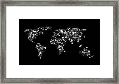 Dinosaur Map Of The World 3 Framed Print by Mark Ashkenazi