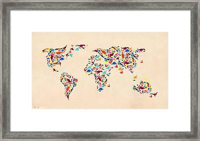 Dinosaur Map Of The World  Framed Print by Mark Ashkenazi