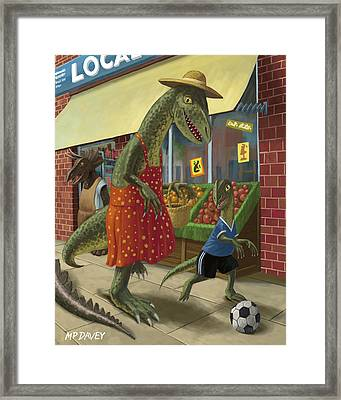 Dinosaur Mum Out Shopping With Son Framed Print by Martin Davey