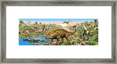 Dinosaur Panorama Framed Print by Adrian Chesterman