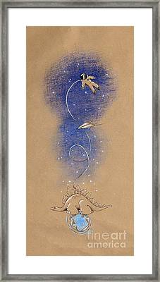Dinosaurs And Astronauts Framed Print by David Breeding