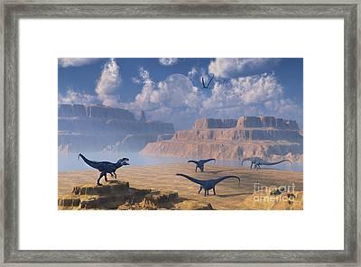 Diplodocus Dinosaurs Being Stalked Framed Print by Mark Stevenson