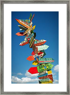 Directions Signs Framed Print by Carlos Caetano