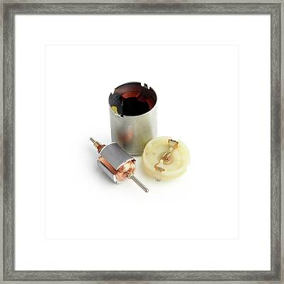 Disassembled Dc Motor Framed Print by Science Photo Library