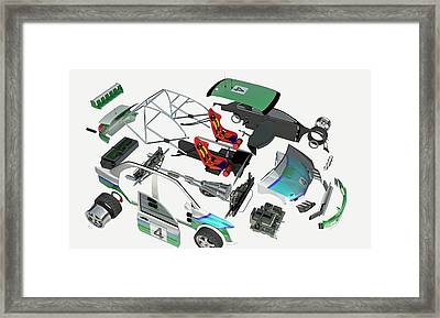 Disassembled Parts Of A Racing Car Framed Print by Dorling Kindersley/uig