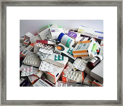 Discarded Medication Framed Print by Robert Brook
