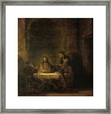 Disciples At Emmaus Framed Print by Rembrandt