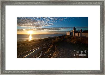 Discovery Park Lighthouse Sunset Framed Print by Mike Reid