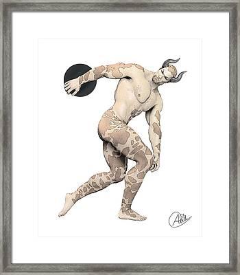 Discus Thrower Satyr Framed Print by Quim Abella