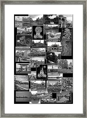 Disney World Collage In Black And White Framed Print by Thomas Woolworth