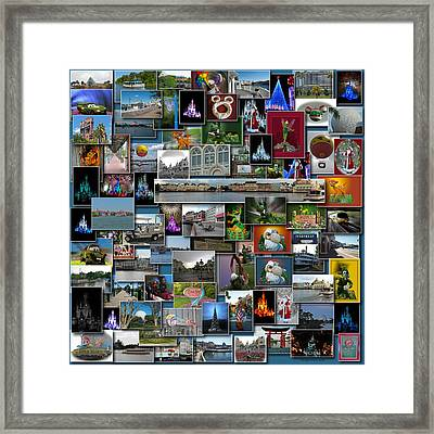 Disney World Collage Square Framed Print by Thomas Woolworth