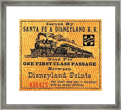 Disneyland Rail Ticket Framed Print by Benjamin Yeager