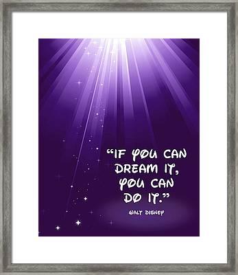Disney's Dream It Framed Print by Nancy Ingersoll