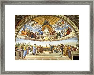 Disputation Of Holy Sacrament. Framed Print by Raphael