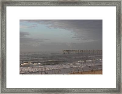 Distant Pier Framed Print by Static Studios
