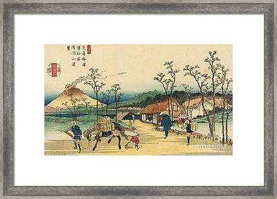 Distant View Of Mount Asama From Urawa Station Framed Print by Ikeda Yoshinobu