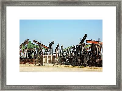 Disused Oil Pumps Framed Print by Bildagentur-online/tschanz-hofmann