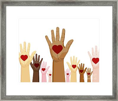 Diversity Hands Framed Print by John Takai