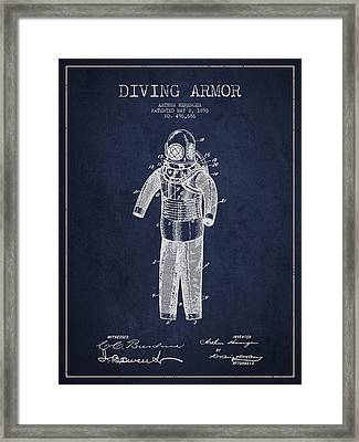 Diving Armor Patent Drawing From 1893 Framed Print by Aged Pixel