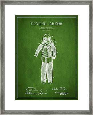 Diving Armor Patent Drawing From 1893 - Green Framed Print by Aged Pixel
