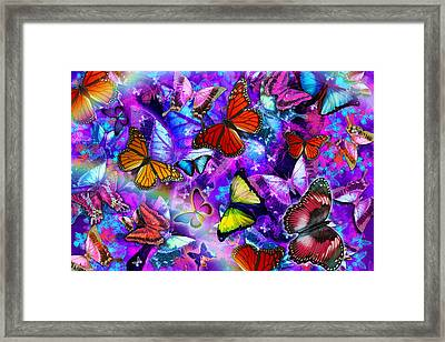 Dizzy Colored Butterfly Explosion Framed Print by Alixandra Mullins