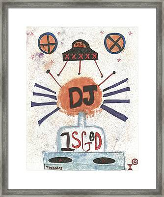 Dj Is God Pop Graffiti Framed Print by Edward X