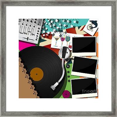 Dj Party Design Framed Print by Richard Laschon