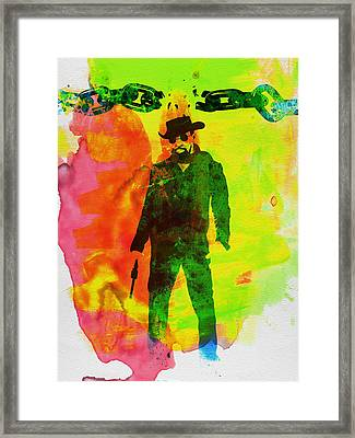 Django Unchained Watercolor Framed Print by Naxart Studio