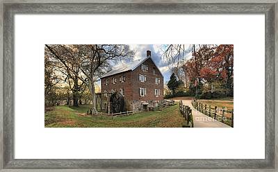 Sloan Park Kerr Grist Mill Panorama Framed Print by Adam Jewell