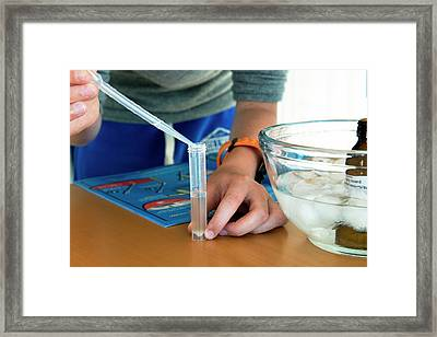 Dna Extraction Experiment Framed Print by Lawrence Lawry