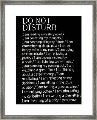 Do Not Disturb Framed Print by Zinvolle Art