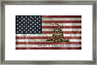Do Not Tread On Us Flag Framed Print by Daniel Hagerman