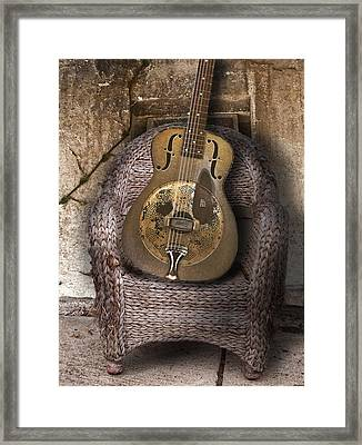 Dobro Guitar Framed Print by Larry Butterworth