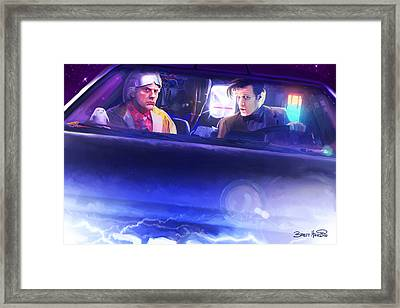 Doc Doctor And The Delorian Framed Print by Brett Hardin