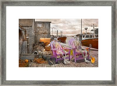 Dock Buddies Framed Print by Betsy C Knapp