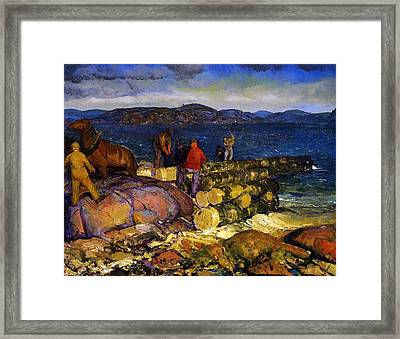 Dock Builders Framed Print by George Wesley Bellows