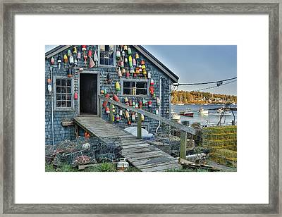 Dock House In Maine Framed Print by Jon Glaser